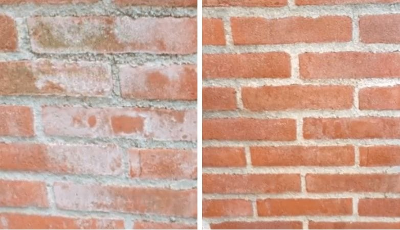 before and after brick wall white stains